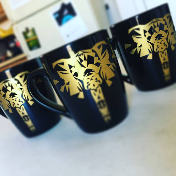 SideBySide Gilded Elephant Mugs